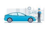 Car repair, service, diagnostics car in building auto service