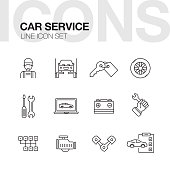 Car Repair Service Line Icons Set