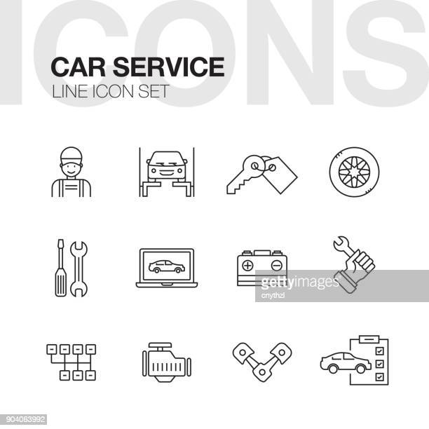 car repair service line icons set - car stock illustrations, clip art, cartoons, & icons