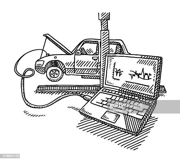 Voiture de Service de réparation ordinateur dessin de garder contact avec le monde