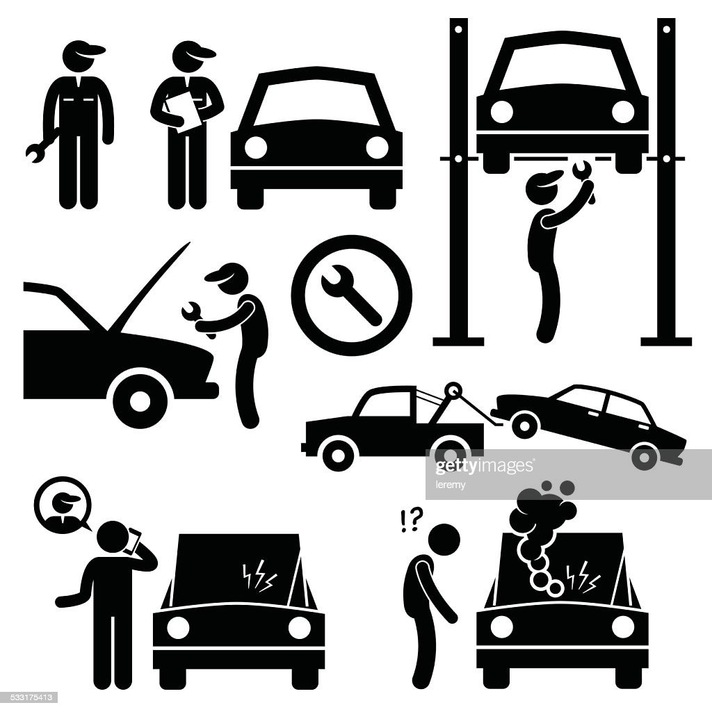Car Repair Services Workshop Mechanic Stick Figure Pictogram Icons