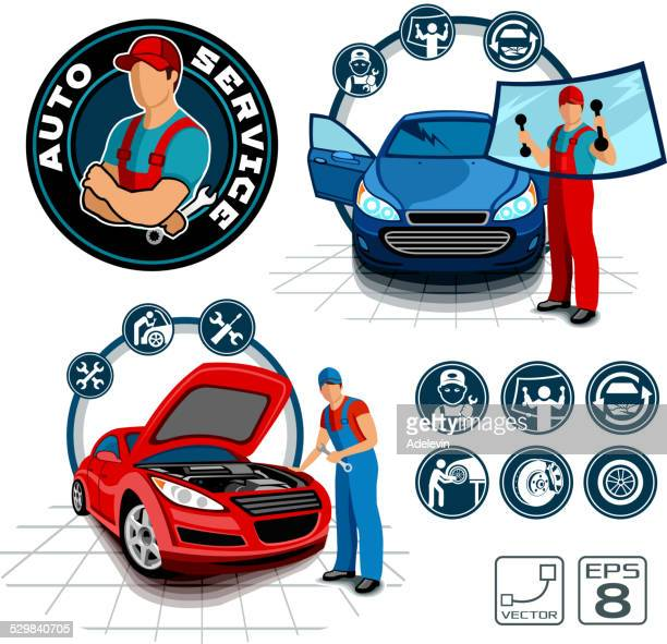 car repair shop vector set - vehicle hood stock illustrations, clip art, cartoons, & icons