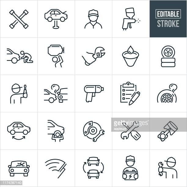 stockillustraties, clipart, cartoons en iconen met auto reparatie dunne lijn pictogrammen-ediatable beroerte - dienstverlening
