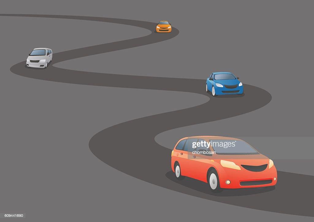 Car running a curved road, vector illustration