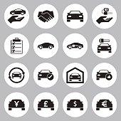 Car Sale and rental car icons set