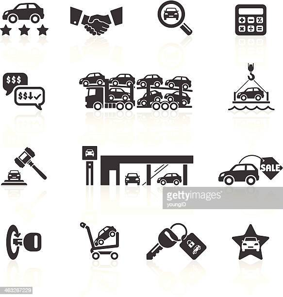 car sales & auto dealership icons - car salesperson stock illustrations, clip art, cartoons, & icons