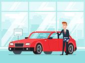 Car salesman in dealer showroom. New cars sales, happy seller shows premium vehicle to buyer cartoon concept illustration