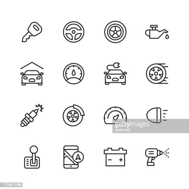 car service and auto repair shop line icons. editable stroke. pixel perfect. for mobile and web. contains such icons as car accident, mechanic, steering wheel, tire, wheel, car oil, garage, speedometer, car mirror, navigation, battery. - steering wheel stock illustrations