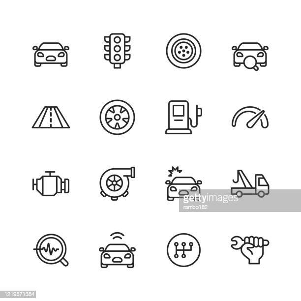 car service and auto repair shop line icons. editable stroke. pixel perfect. for mobile and web. contains such icons as car accident, mechanic, car, traffic light, tire, road, gas station, car accident, towing, car gears, gearbox, repair key. - green car crash stock illustrations