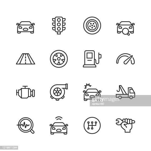illustrazioni stock, clip art, cartoni animati e icone di tendenza di icone della linea di assistenza auto e autofficine. tratto modificabile. pixel perfetto. per dispositivi mobili e web. contiene icone come incidente d'auto, meccanico, auto, semaforo, pneumatico, strada, stazione di servizio, incidente d'auto, traino, ingr - motore