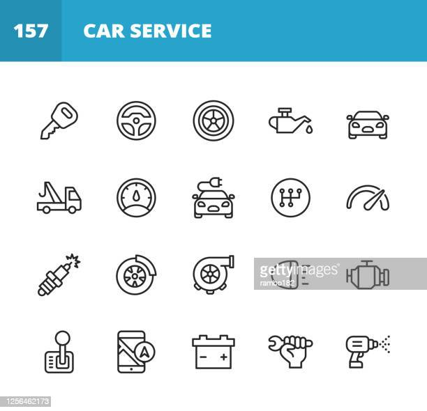 car service and auto repair shop line icons. editable stroke. pixel perfect. for mobile and web. contains such icons as car accident, mechanic, steering wheel, tire, wheel, car oil, garage, speedometer, car mirror, navigation, battery. - green car crash stock illustrations