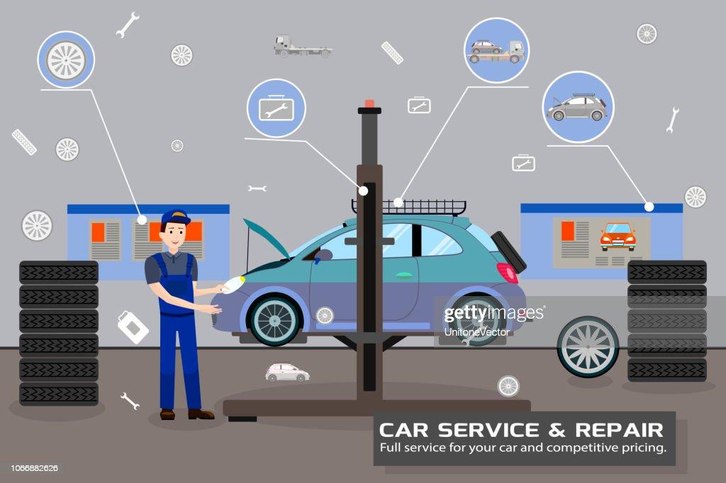 Car Service and Repair. Vector Flat Illustration.