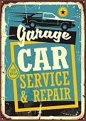 Car service and repair vintage sign with car side view