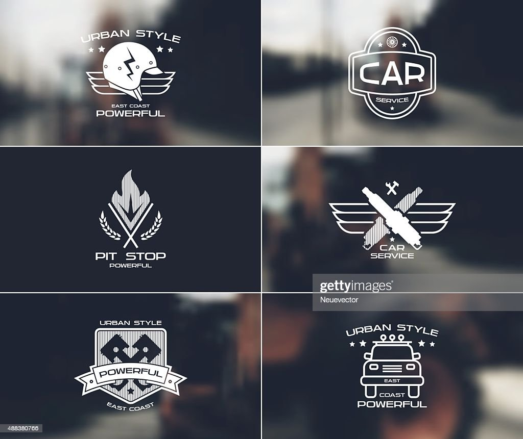 Car service badges and logo on blurred backgrounds