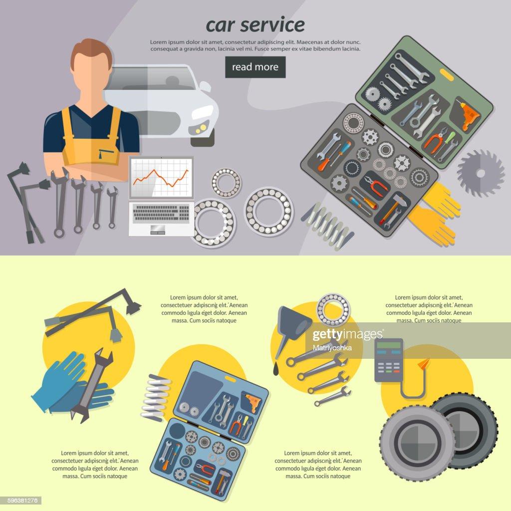 Car service banner auto mechanic tool box car repair