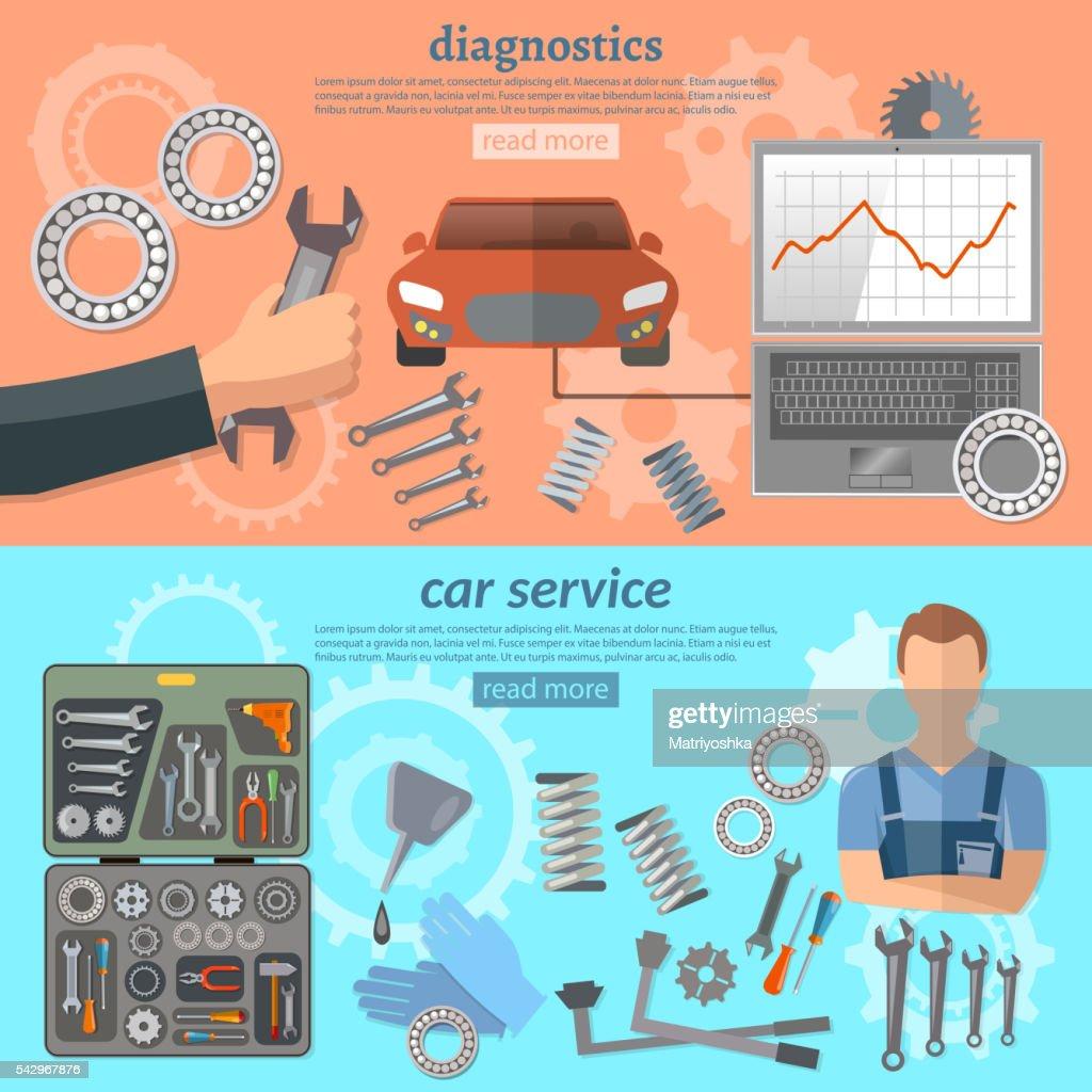 Car service banner mechanic auto service center tool box