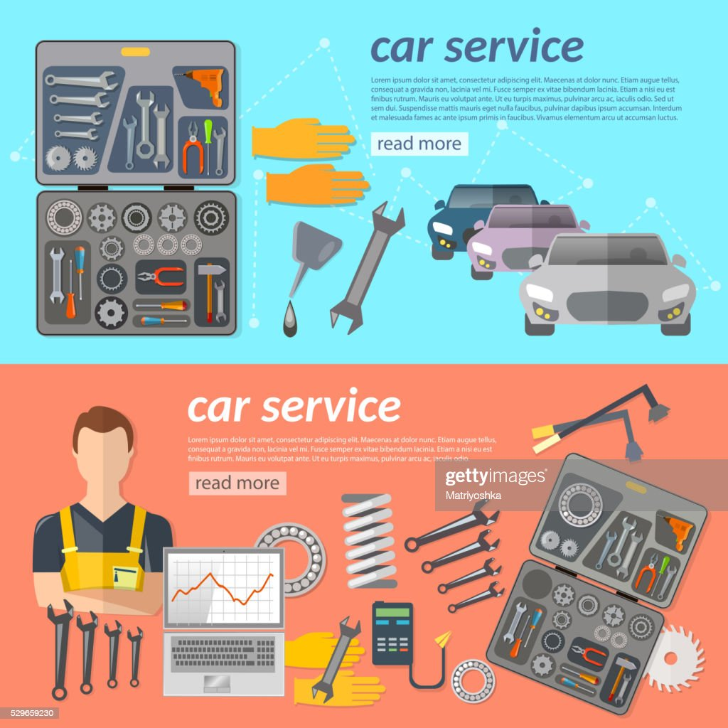 Car service car repair banner car mechanic