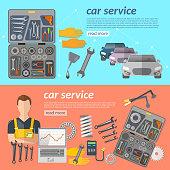Car service car repair banner car mechanic