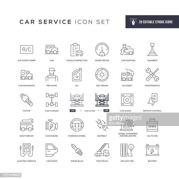 car service editable stroke line icons - steering wheel stock illustrations