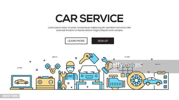 Auto Service Flat Line Webontwerp van de Banner