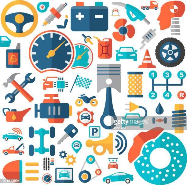 Autoteile Service Garage transportieren isoliert Icons - flache Farbtabelle