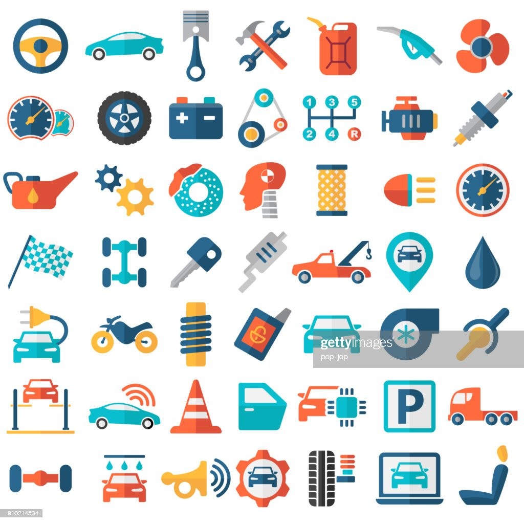 Car Service Garage Parts Transport Isolated Icons Flat Color Vector ...