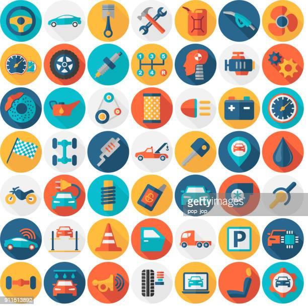 ilustrações, clipart, desenhos animados e ícones de carro serviço garagem peças ícones isolados - liso redondo cor de transporte - liso