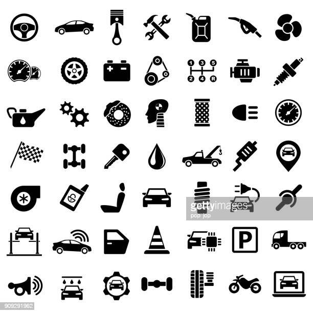 car service garage parts transport isolated icons on white background - machine part stock illustrations