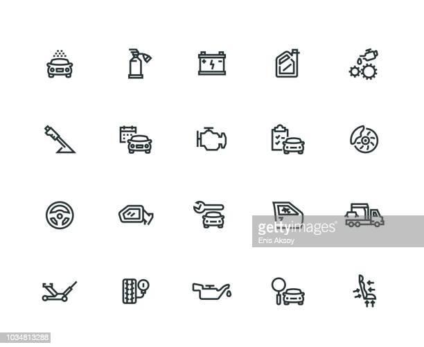 illustrations, cliparts, dessins animés et icônes de jeu d'icônes de voiture service - ligne épaisse série - station de lavage auto