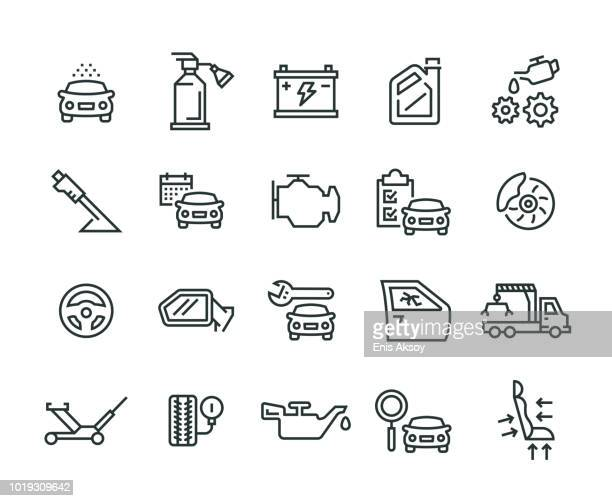 car service icon set - tire vehicle part stock illustrations, clip art, cartoons, & icons