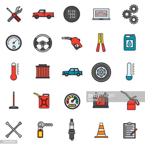 car service icon set - car key stock illustrations, clip art, cartoons, & icons