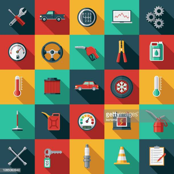 auto-service-icon-set - flach stock-grafiken, -clipart, -cartoons und -symbole