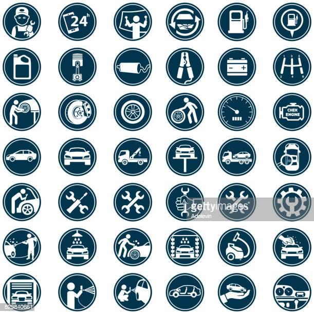 illustrations, cliparts, dessins animés et icônes de voiture service icon set - station de lavage auto