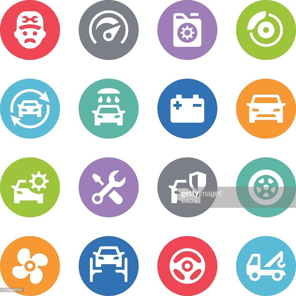 Car Service Icons - Circle Illustrations