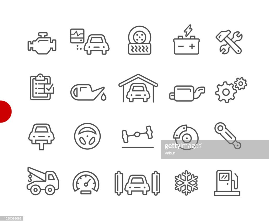 Car Service Icons // Red Point Series