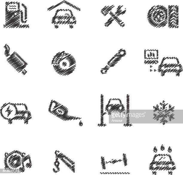 Car Service Icons // Scribble series