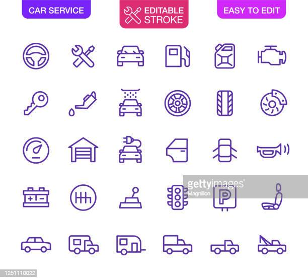 car service icons set editable stroke - parking sign stock illustrations