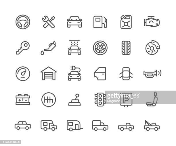 illustrazioni stock, clip art, cartoni animati e icone di tendenza di set icone servizio auto - motore