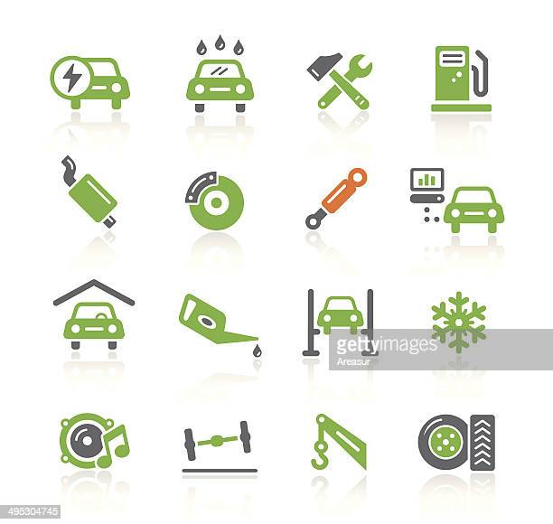car service icons | spring series - tire vehicle part stock illustrations, clip art, cartoons, & icons