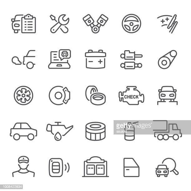 stockillustraties, clipart, cartoons en iconen met auto service pictogrammen - machinerie