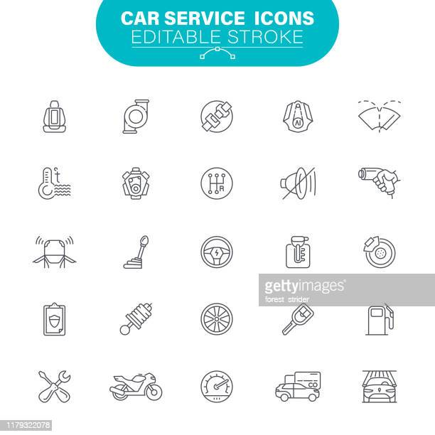 car service icons - wheel stock illustrations