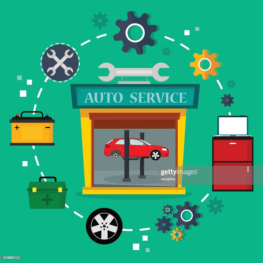 Car service in garage