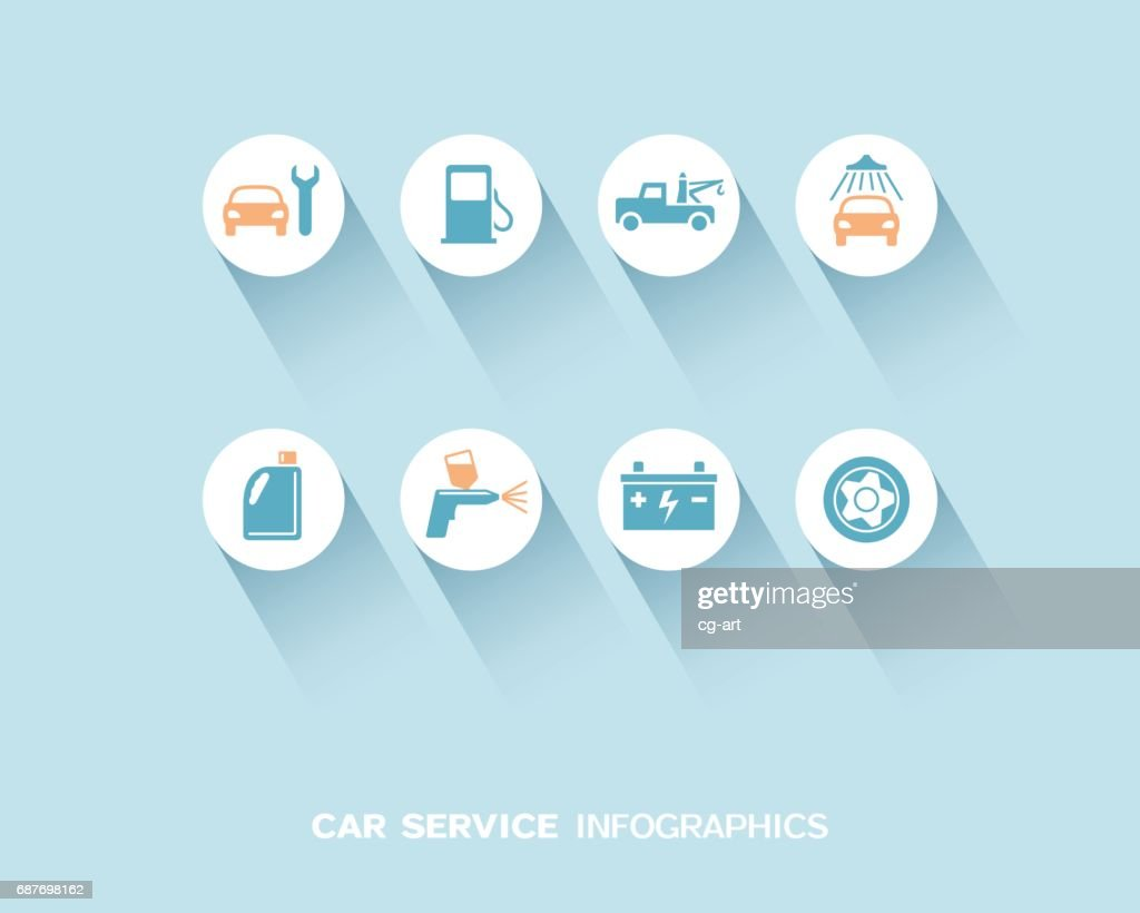 Car service infographic with flat icons set