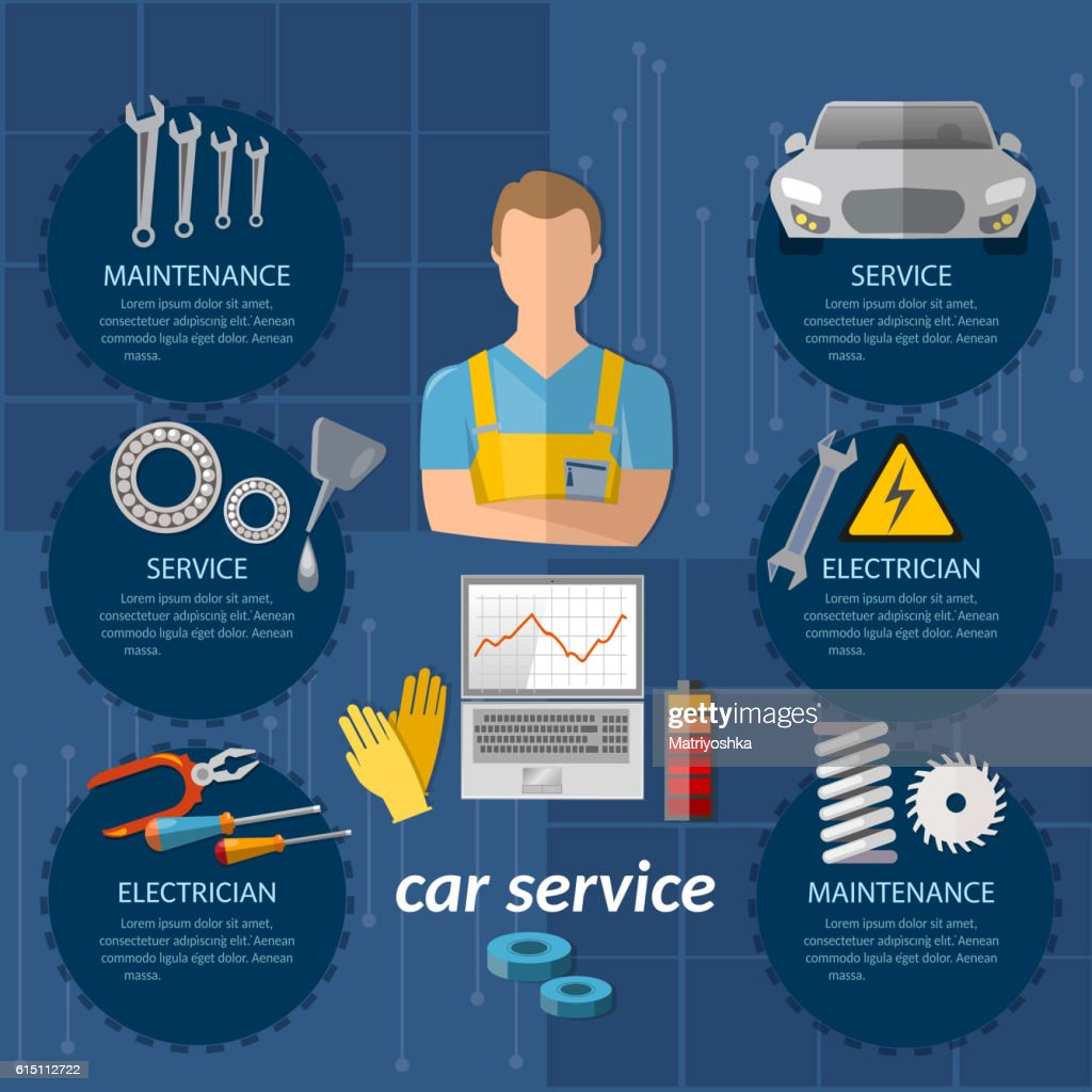 Car service infographics mechanic car diagnostics
