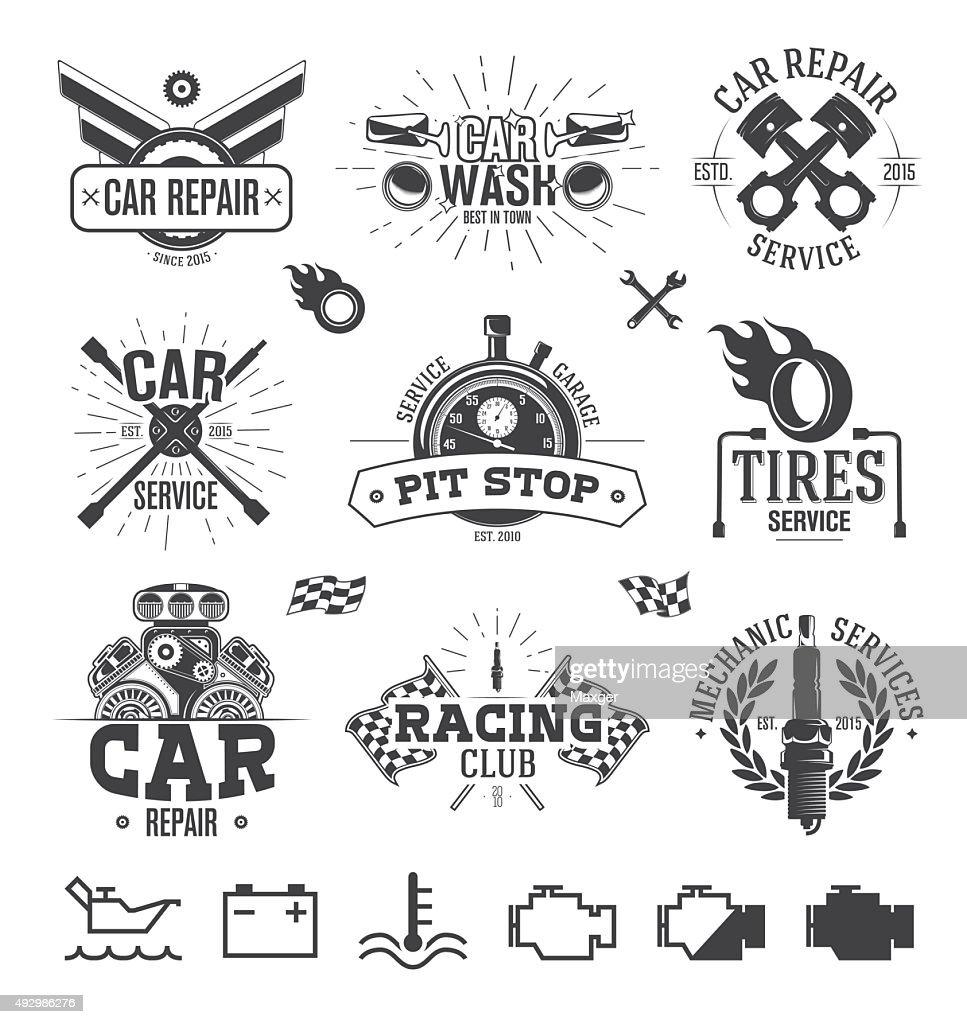 Car service Labels, Emblems and Logos