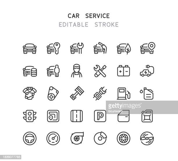 car service line icons editable stroke - personal accessory stock illustrations