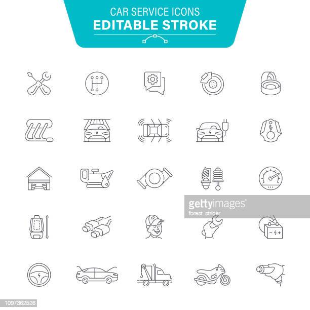 car service line icons - spare part stock illustrations
