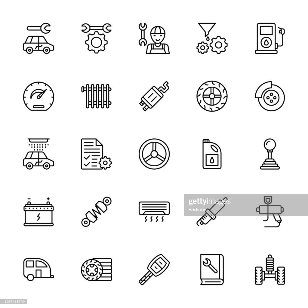 Car Service Line Vector Icons