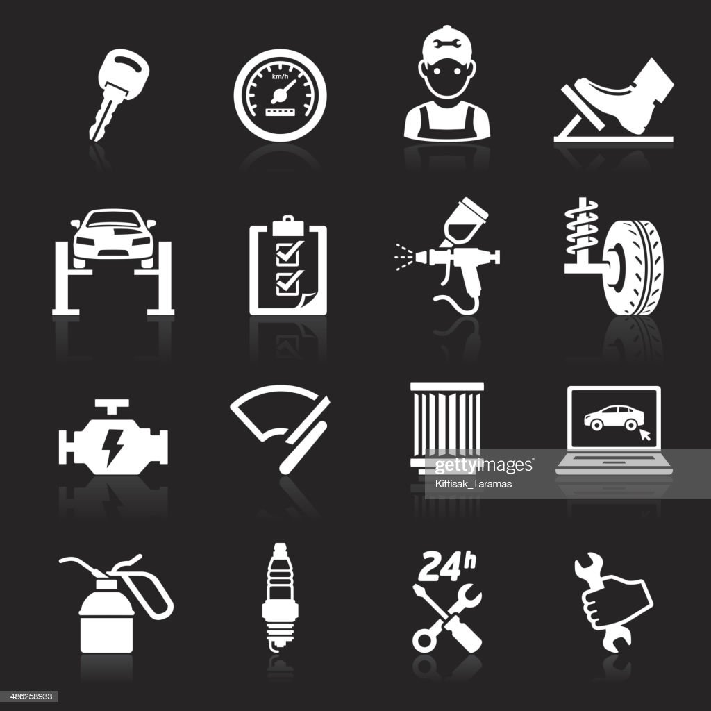 Car service maintenance white icons.