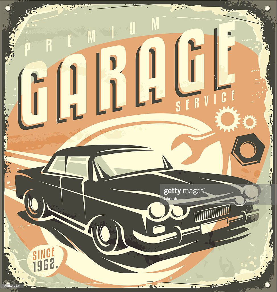 Car service - Promotional retro design concept.
